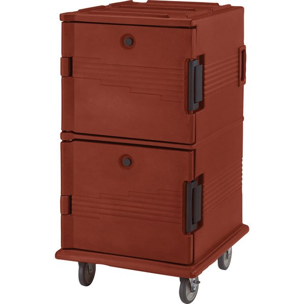 Cambro UPC1600402 Ultra Camcarts® Brick Red Insulated Food Pan Carrier - Holds 24 Pans Main Image 1