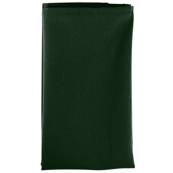 20 inch x 20 inch Forest Green Hemmed Polyspun Cloth Napkin - 12/Pack