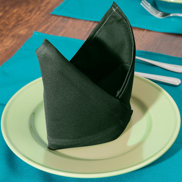 "20"" x 20"" Forest Green Hemmed Polyspun Cloth Napkin - 12/Pack"