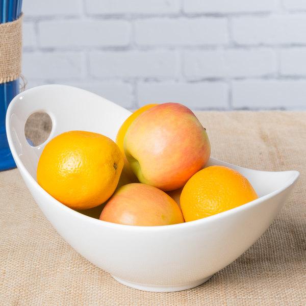 10 Strawberry Street WTR-10FBWL Whittier 34 oz. White Porcelain Fruit Bowl with Cut Outs - 12/Case