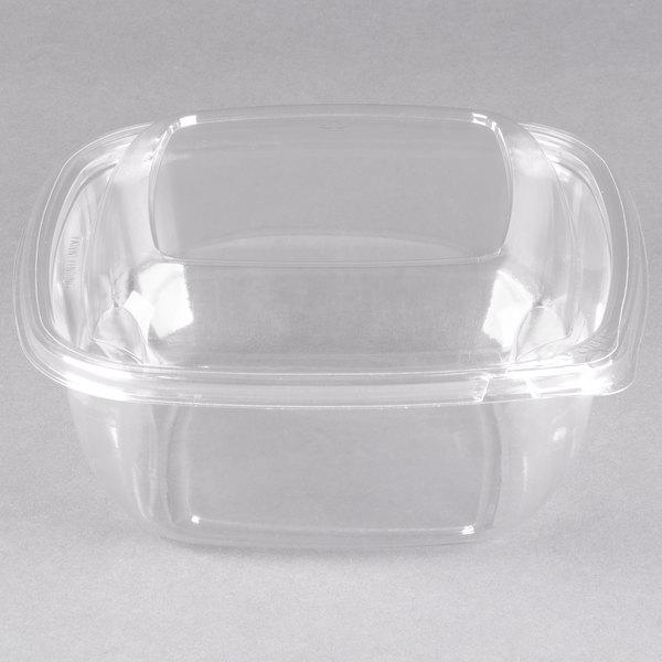 Sabert C18048TR150 Bowl2 48 oz. Clear PETE Square Tamper Evident Bowl with Lid - 150/Case