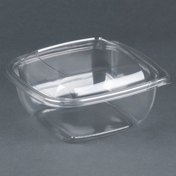 Sabert C18048TR150 Bowl2 48 oz. Clear PETE Square Tamper Evident Bowl with Lid - 150 / Case
