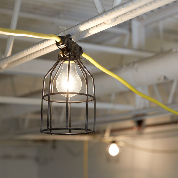 Voltec 08-00198 U-Ground Work Light String with 10 Metal Cages - 100' 12/3 Cord, 150W Bulb Rating Main Image 2