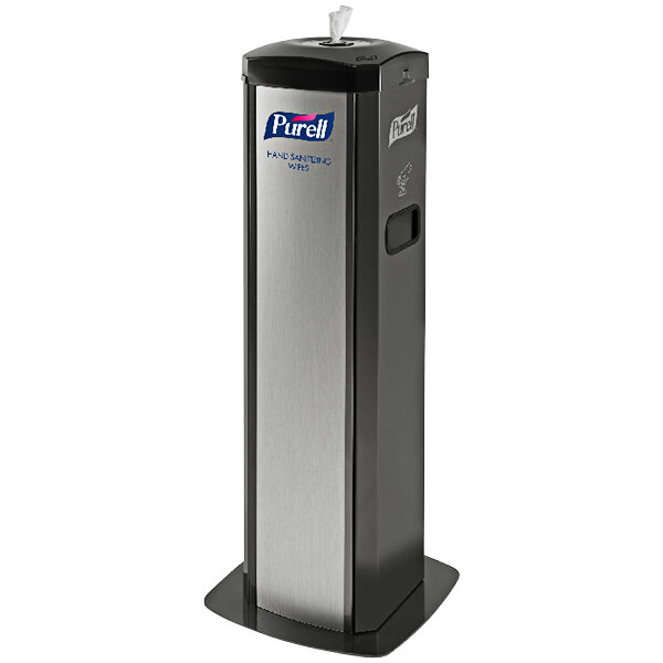 Purell 9114-01-SLVHSW DS360 High Capacity Wipes Station with Integrated Waste Receptacle Main Image 1