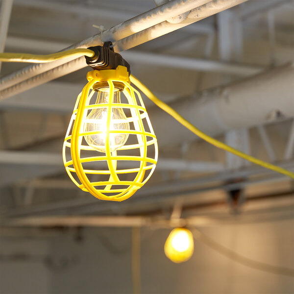 Voltec 08-01187 U-Ground Work Light String with 5 Plastic Cages - 50' 14/3 Cord, 150W Bulb Rating Main Image 2