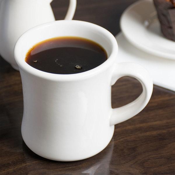 Choice 12 Oz Ivory American White Victor Stoneware Coffee Mug 12 Pack