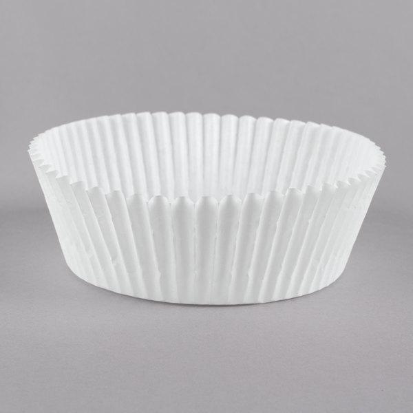 "White Fluted Jumbo Baking Cup 3 1/2"" x 1 1/2"" - 5000/Case Main Image 1"