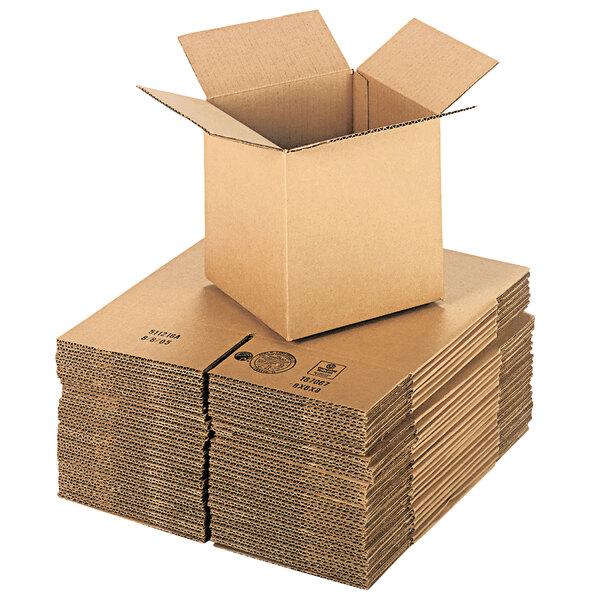 "Lavex Packaging 8"" x 8"" x 8"" Kraft Corrugated RSC Shipping Box - 25/Bundle Main Image 1"