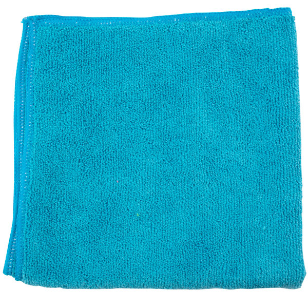 """Unger MC40B SmartColor MicroWipe 16"""" x 16"""" Blue Light-Duty Microfiber Cleaning Cloth - 10/Pack"""