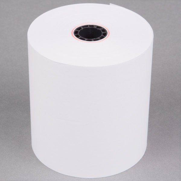 """Point Plus 3"""" x 165' Traditional Cash Register POS Paper Roll Tape - 50/Case Main Image 1"""