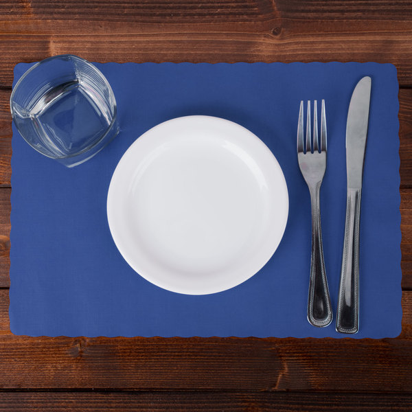 """Hoffmaster 310523 10"""" x 14"""" Navy Blue Colored Paper Placemat with Scalloped Edge - 1000/Case Main Image 2"""