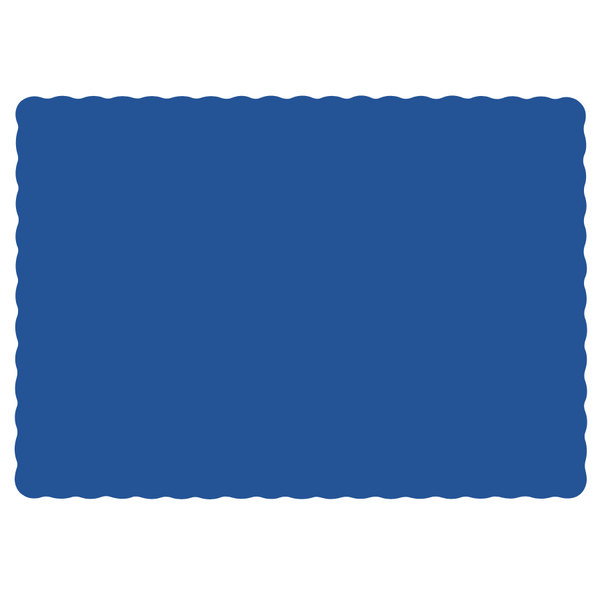 """Hoffmaster 310523 10"""" x 14"""" Navy Blue Colored Paper Placemat with Scalloped Edge - 1000/Case"""
