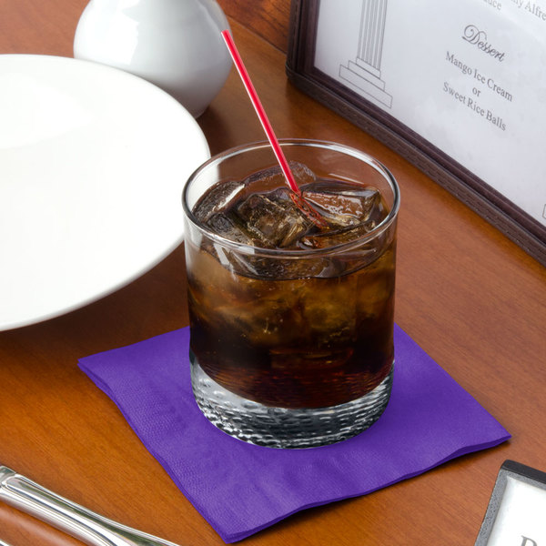 """Choice 10"""" x 10"""" Purple 2-Ply Beverage / Cocktail Napkins - 250/Pack"""