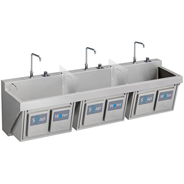 "Elkay EWSF39026KWSC Stainless Steel Wall Hung Triple Bowl Surgeon Scrub Sink Kit with Hands-Free Operation - 28"" x 16 1/4"" x 11"" Bowl Main Image 1"