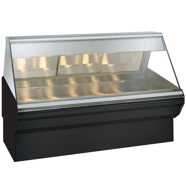 Alto-Shaam EC2SYS-72 BK Black Heated Display Case with Angled Glass and Base - Full Service 72""