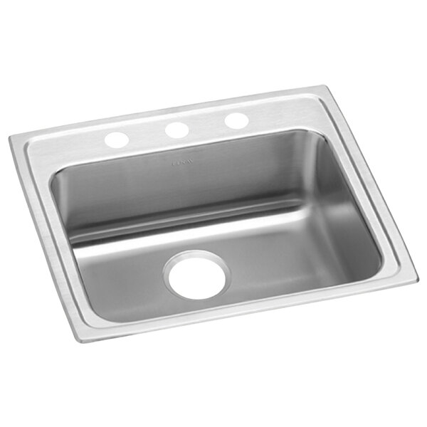 """Elkay LRAD2521553 Lusterstone Classic Single Bowl ADA Drop-In Sink with Three Faucet Holes - 21"""" x 15 3/4"""" x 5 3/8"""" Bowl Main Image 1"""