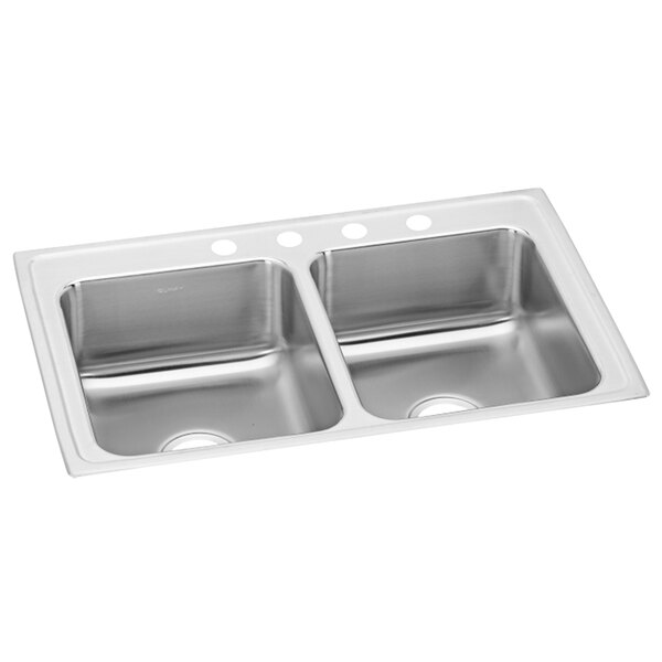 """Elkay LRAD2918553 Lusterstone Classic Double Bowl ADA Drop-In Sink with Three Faucet Holes - 12"""" x 12"""" x 5 3/8"""" Bowl Main Image 1"""