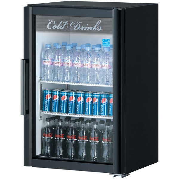 Turbo Air TGM-7SDB-N6 Super Deluxe Black Countertop Display Refrigerator with Swing Door