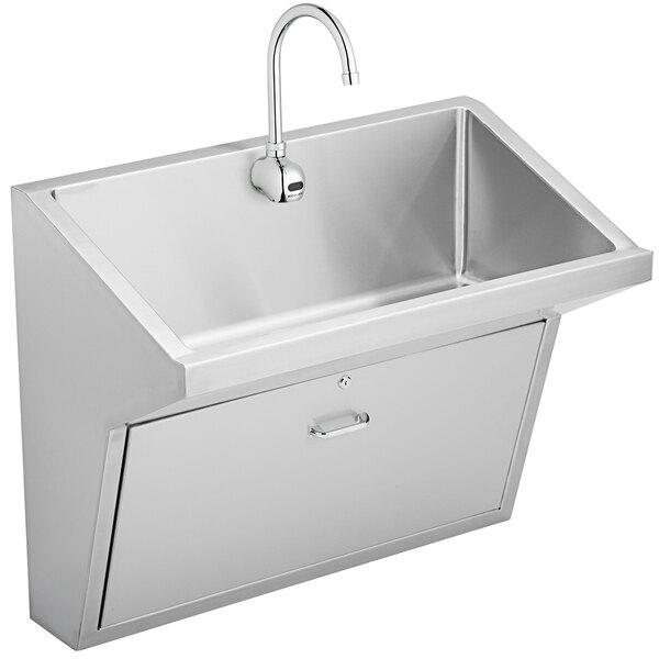 "Elkay EWSFAD13620SACC Stainless Steel Wall Hung Single Bowl ADA Surgeon Scrub Sink Kit - 33"" x 16 1/2"" x 6 1/2"" Bowl Main Image 1"