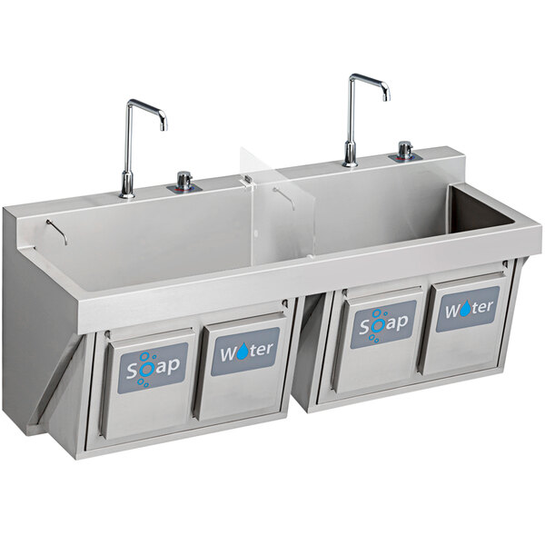 """Elkay EWSF26026KWSC Stainless Steel Wall Hung Double Bowl Surgeon Scrub Sink Kit with Hands-Free Operation - 26"""" x 16 1/4"""" x 11"""" Bowl Main Image 1"""