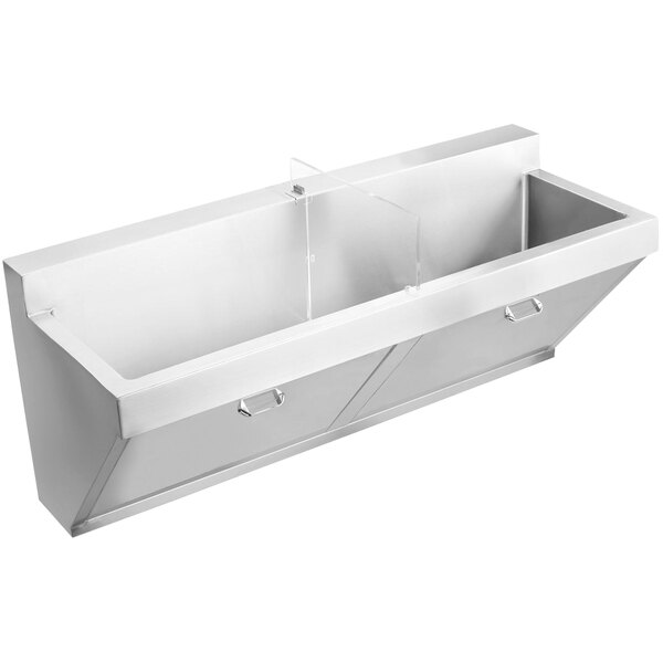 "Elkay EWSF260260 Stainless Steel Wall Hung Double Bowl Surgeon Scrub Sink with No Faucet Holes - 28"" x 16 1/4"" x 11"" Bowl Main Image 1"