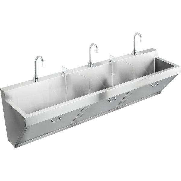 "Elkay EWSF39026SACC Stainless Steel Wall Hung Triple Bowl Surgeon Scrub Sink Kit - 28"" x 16 1/4"" x 11"" Bowl Main Image 1"