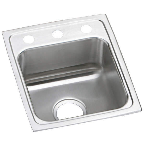 """Elkay LRAD1517653 Lusterstone Classic Single Bowl ADA Drop-In Sink with Three Faucet Holes - 12"""" x 12"""" x 6 3/8"""" Bowl Main Image 1"""
