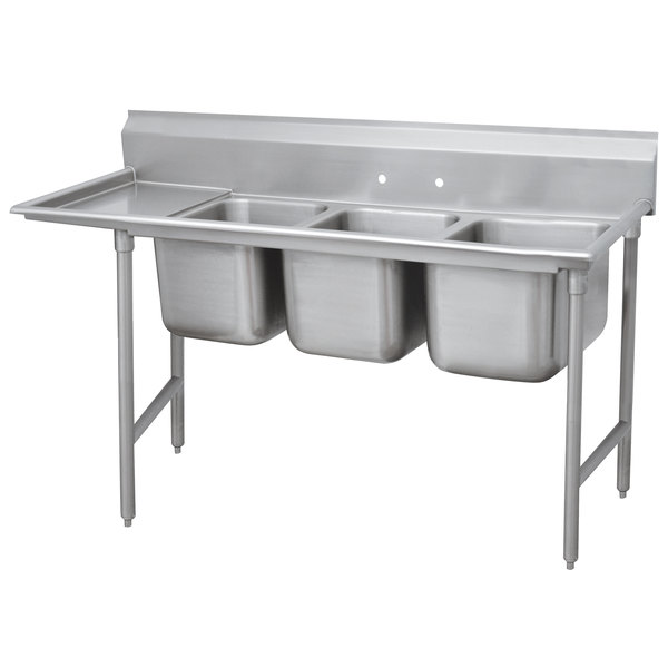 Left Drainboard Advance Tabco 93-83-60-18 Regaline Three Compartment Stainless Steel Sink with One Drainboard - 89""