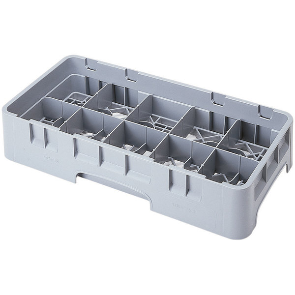 """Cambro 10HS800151 Soft Gray Camrack 10 Compartment 8 1/2"""" Half Size Glass Rack"""