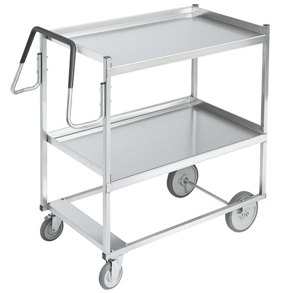"Vollrath 97200 Heavy-Duty Stainless Steel 2 Shelf Utility Cart - 39"" x 20"" x 44 1/2"""