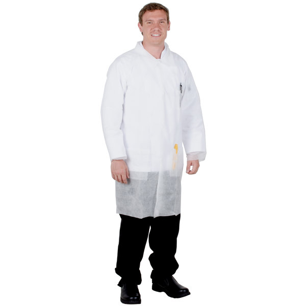 White Disposable Polypropylene Lab Coat - Large