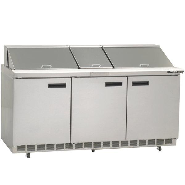 "Delfield 4472N-30M 72"" 3 Door Mega Top Refrigerated Sandwich Prep Table"