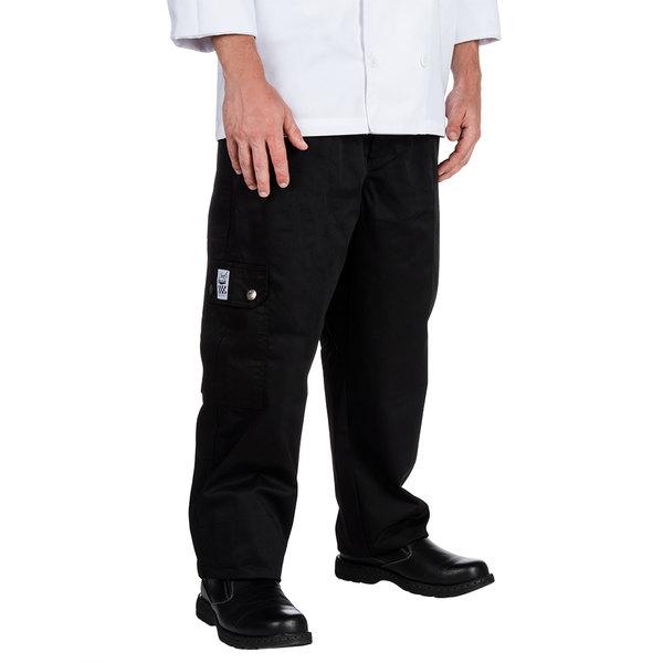 Chef Revival P024BK Size S Black Chef Cargo Pants - Poly-Cotton