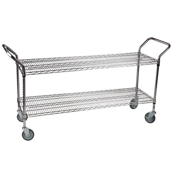 """Regency 24"""" x 60"""" Two Shelf Chrome Heavy Duty Utility Cart"""