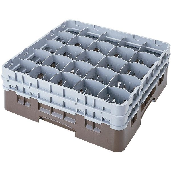 "Cambro 25S434167 Camrack 5 1/4"" High Customizable Brown 25 Compartment Glass Rack"