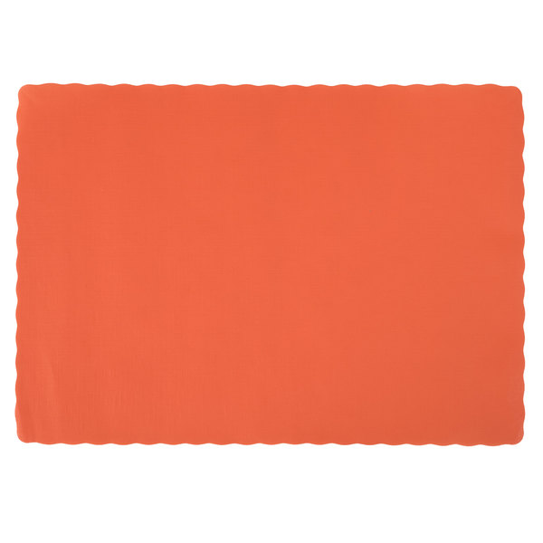 Hoffmaster 310555 10 inch x 14 inch Bittersweet Orange Colored Paper Placemat with Scalloped Edge  - 1000/Case