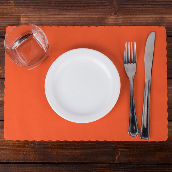 """Hoffmaster 310555 10"""" x 14"""" Bittersweet Orange Colored Paper Placemat with Scalloped Edge - 1000/Case Main Image 6"""