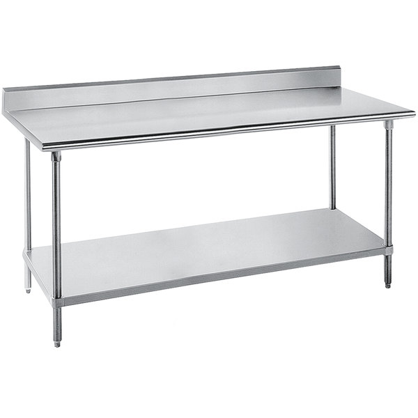 "Advance Tabco SKG-247 24"" x 84"" 16 Gauge Super Saver Stainless Steel Commercial Work Table with Undershelf and 5"" Backsplash"