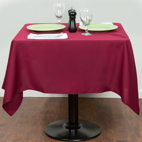 X Square Burgundy Polyester Hemmed Cloth Table Cover - 54x54 table pad