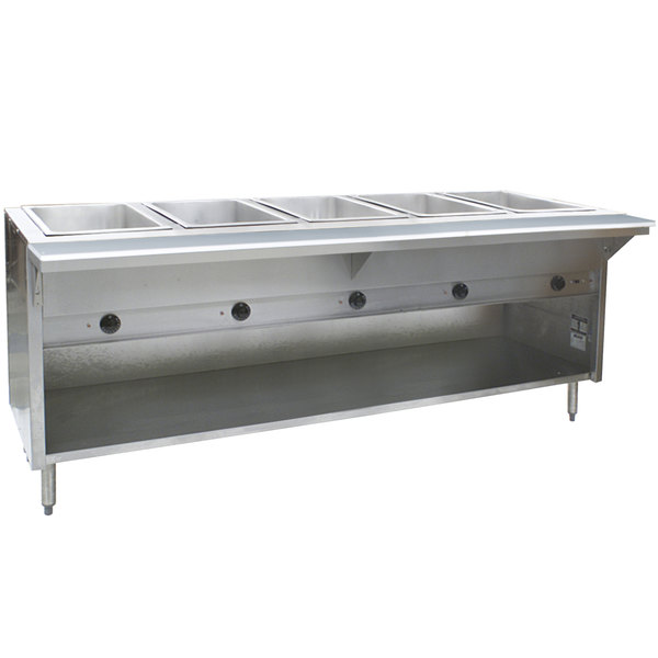 Eagle Group HT5OB Liquid Propane Steam Table with Enclosed Base 17,500 BTU - Five Pan - Open Well