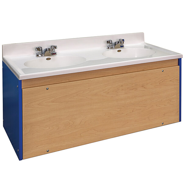 """Tot Mate TM8352A.S3322 Royal Blue and Maple Double Laminate Floor Vanity - 49"""" x 21"""" x 21 1/2"""" Main Image 1"""