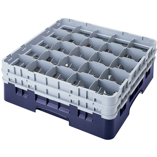 "Cambro 25S800186 Camrack 8 1/2"" High Customizable Navy Blue 25 Compartment Glass Rack"