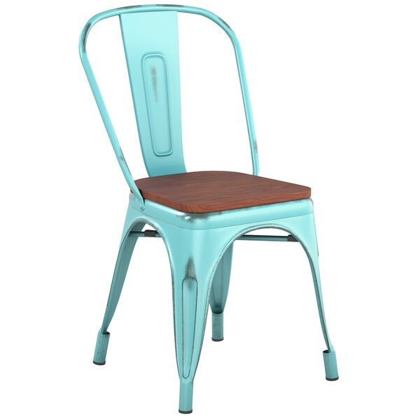 Lancaster Table & Seating Alloy Series Distressed Seafoam Metal Indoor Industrial Cafe Chair with Vertical Slat Back and Walnut Wood Seat Main Image 1