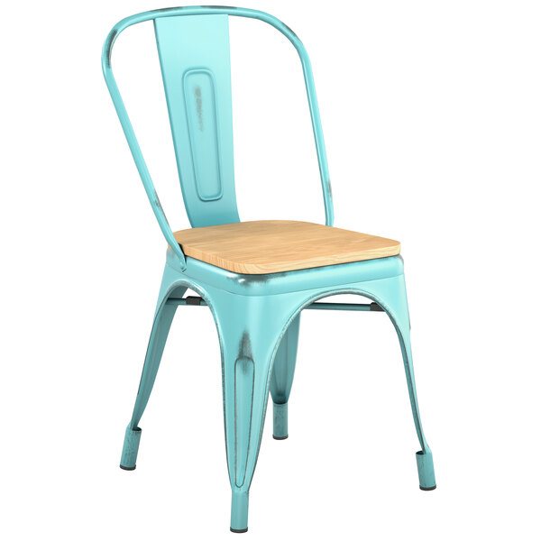 Lancaster Table & Seating Alloy Series Distressed Seafoam Metal Indoor Industrial Cafe Chair with Vertical Slat Back and Natural Wood Seat Main Image 1