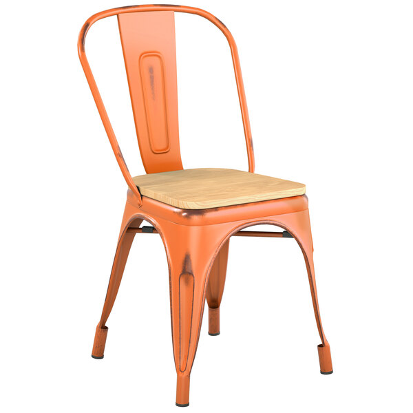Lancaster Table & Seating Alloy Series Distressed Orange Metal Indoor Industrial Cafe Chair with Vertical Slat Back and Natural Wood Seat Main Image 1