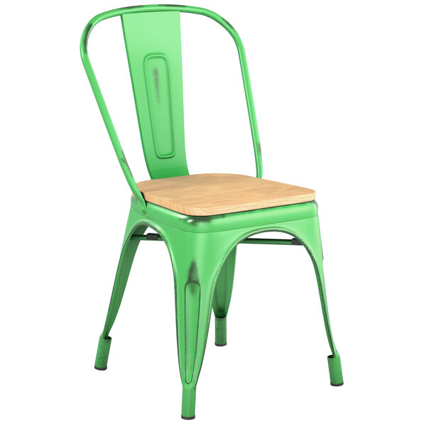 Lancaster Table & Seating Alloy Series Distressed Green Metal Indoor Industrial Cafe Chair with Vertical Slat Back and Natural Wood Seat Main Image 1