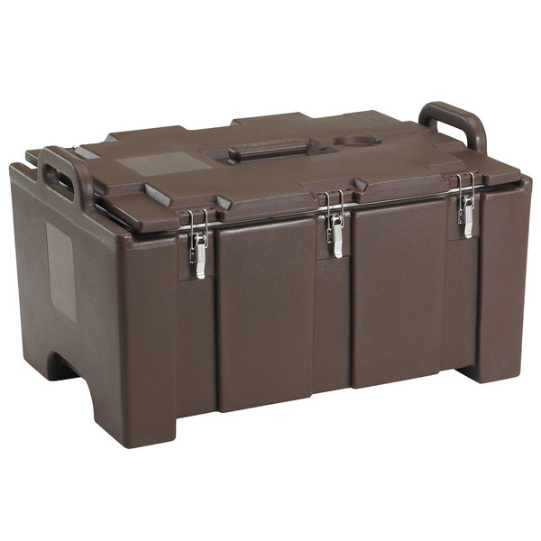 """Cambro 100MPC131 Camcarrier® 100 Series Dark Brown Top Loading 8"""" Deep Insulated Food Pan Carrier Main Image 1"""