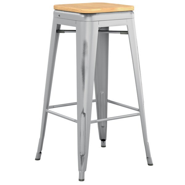 Lancaster Table & Seating Alloy Series Distressed Silver Stackable Metal Indoor Industrial Barstool with Natural Wood Seat Main Image 1