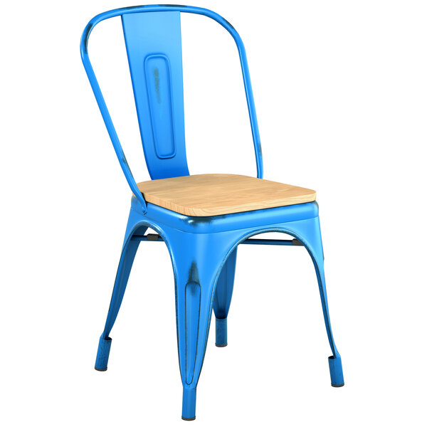 Lancaster Table & Seating Alloy Series Distressed Blue Metal Indoor Industrial Cafe Chair with Vertical Slat Back and Natural Wood Seat Main Image 1