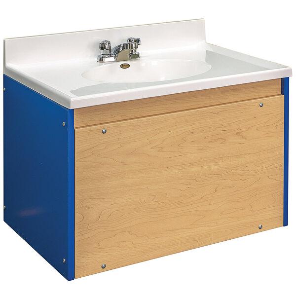 "Tot Mate TM8350R.S3322 Royal Blue and Maple Single Laminate Floor Vanity - 31"" x 21"" x 21 1/2""; Unassembled Main Image 1"